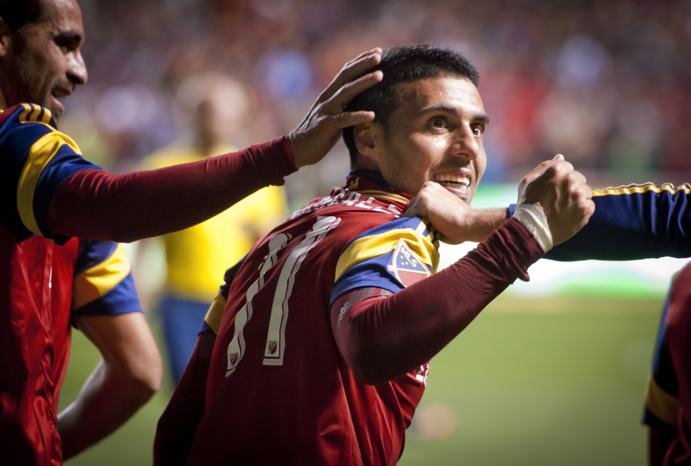 Real Salt Lake midfielder Javier Morales (11) celebrates his goal on a free kick during their match against the Philadelphia Union at Rio Tinto Stadium in Sandy, UT on Saturday, March 14, 2015. The match ended in a 3-3 draw. | Photo by Michael Mangum