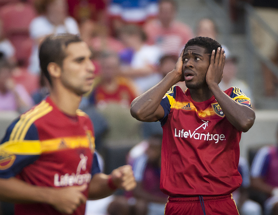 Michael Mangum | Special to the Tribune | Real Salt Lake forward Olmes Garcia (13) reacts after a failed attacking opportunity during the first half of their match against Orlando City SC at Rio Tinto Stadium on Saturday, July 4, 2015.